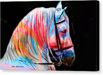 Canvas Print featuring the painting Abstract White Horse 19 by J- J- Espinoza