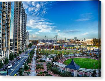 Aerial View Of Romare Bearden Park In Downtown Charlotte North C Canvas Print by Alex Grichenko