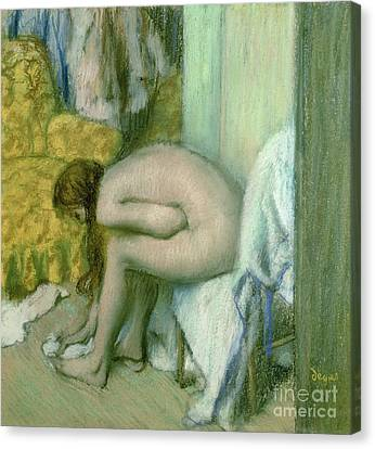 After The Bath Canvas Print by Edgar Degas