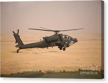 Ah-64d Apache Helicopter On A Mission Canvas Print by Terry Moore
