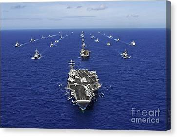 On The Move Canvas Print - Aircraft Carrier Uss Ronald Reagan by Stocktrek Images