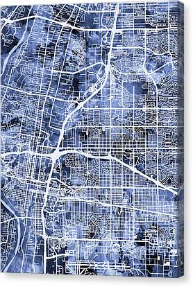 Mexico Canvas Print - Albuquerque New Mexico City Street Map by Michael Tompsett