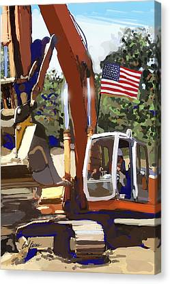 Cement Canvas Print - American Tractor by Brad Burns