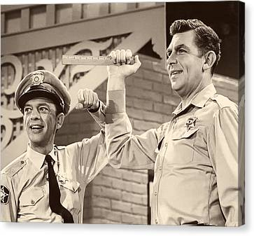 Don Knotts Canvas Print - Andy Griffith And Don Knotts 1970 by Mountain Dreams