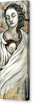 Angel And Baby Canvas Print by Carrie Joy Byrnes