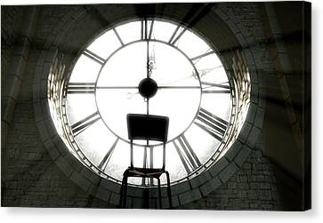 Antique Backlit Clock And Empty Chair Canvas Print