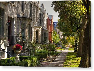Heritage Montreal Canvas Print - Apartment Buildings Along City Street by David Chapman