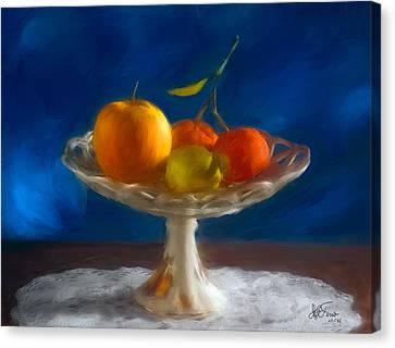 Canvas Print featuring the photograph Apple, Lemon And Mandarins. Valencia. Spain by Juan Carlos Ferro Duque