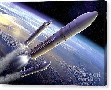Separation Canvas Print - Ariane 5 Rocket Launch, Artwork by David Ducros