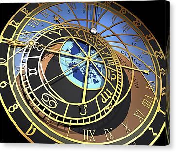 Astronomical Clock, Artwork Canvas Print by Pasieka