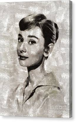Audrey Hepburn By Mary Bassett Canvas Print