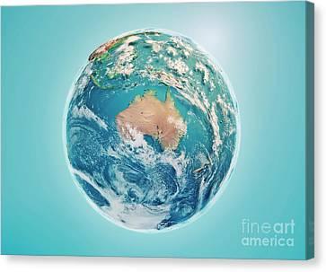 World Map Canvas Print - Australia 3d Render Planet Earth Clouds by Frank Ramspott