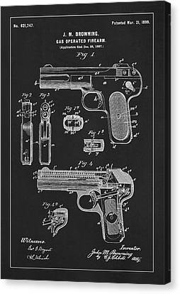 JOHN M BROWNING HANDGUN GAS OPERATED GUN PATENT PAINTING ART REAL CANVAS PRINT