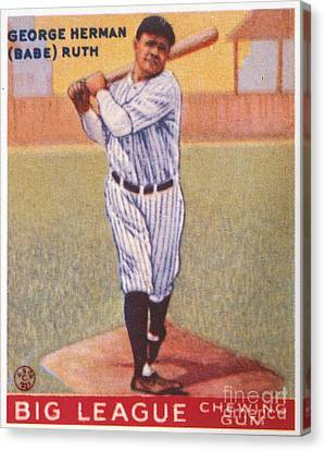 Aodng Canvas Print - Babe Ruth (1895-1948) by Granger