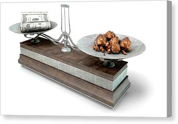 Balance Scale Comparison Canvas Print by Allan Swart