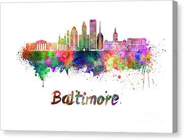 Baltimore Skyline In Watercolor Canvas Print by Pablo Romero