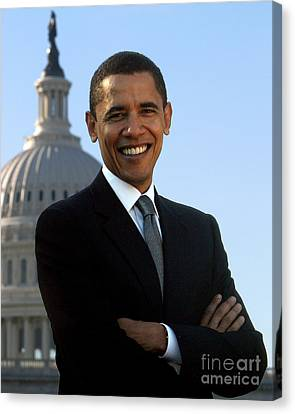 Barack Obama Canvas Print by Celestial Images