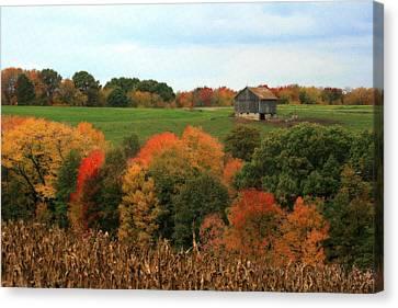 Barn On Autumn Hillside Canvas Print by Angela Rath