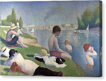 Bathers At Asnieres Canvas Print by Georges Seurat