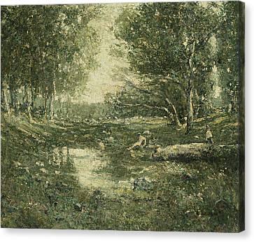 Lawson Canvas Print - Bathers, Woodland by Ernest Lawson