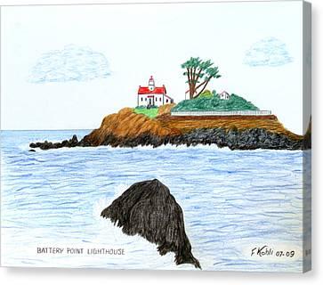 Battery Point Lighthouse Canvas Print by Frederic Kohli