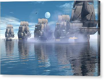 Canvas Print featuring the digital art Battle Line by Claude McCoy