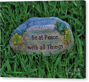 Canvas Print featuring the photograph 2- Be At Peace by Joseph Keane