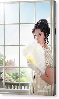 Ostrich Fan Canvas Print - Beautiful Regency Woman At The Window by Lee Avison