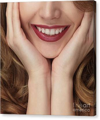 Beautiful Young Smiling Woman Canvas Print by Oleksiy Maksymenko