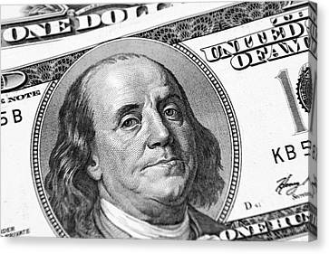 Benjamin Franklin Canvas Print by Les Cunliffe