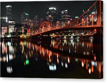 Black Night In Pittsburgh Canvas Print by Frozen in Time Fine Art Photography