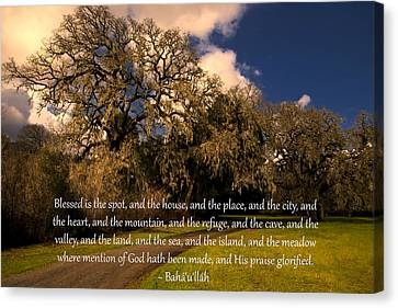 Canvas Print featuring the photograph Blessed Is The Spot Prayer by Baha'i Writings As Art