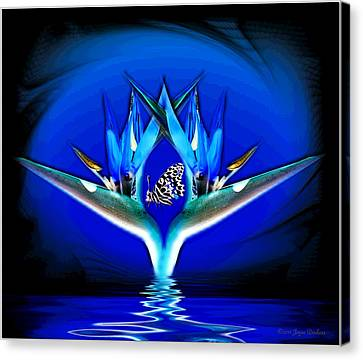 Blue Bird Of Paradise Canvas Print
