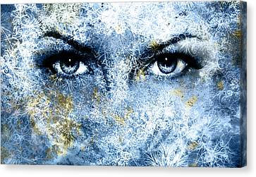 Blue Goddess Women Eye, Multicolor Background With Oriental Mandala Ornament. Eye Contact. Canvas Print by Jozef Klopacka