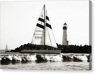 2 Boats Approach 2 Canvas Print
