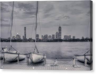 Boston Skyline From Mit Sailing Pavilion Canvas Print by Joann Vitali