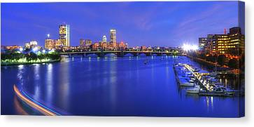 Boston Skyline Panoramic At Night Canvas Print