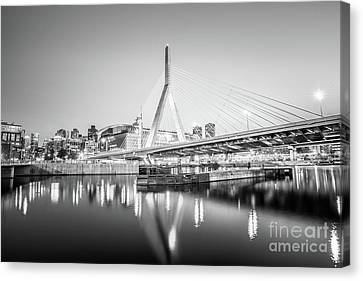 Boston Zakim Bridge At Night Black And White Photo Canvas Print
