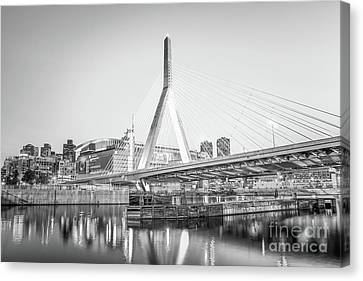 Boston Zakim Bridge Black And White Photo Canvas Print