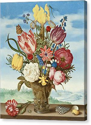 Bouquet Of Flowers On A Ledge Canvas Print by Ambrosius Bosschaert