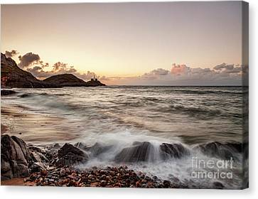 Bracelet Bay And The Mumbles Lighthouse Canvas Print by Colin and Linda McKie