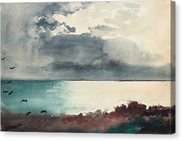 Maine Landscape Canvas Print - Breaking Storm Coast Of Maine by Winslow Homer