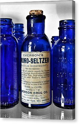Glass Bottle Canvas Print - Bromo Seltzer Vintage Glass Bottles Collection by Marianna Mills