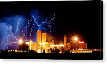 Budweiser Lightning Thunderstorm Moving Out Crop Canvas Print by James BO  Insogna