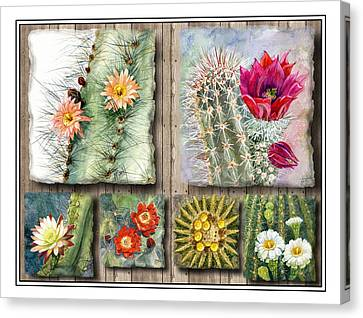 Claret Canvas Print - Cactus Collage by Marilyn Smith