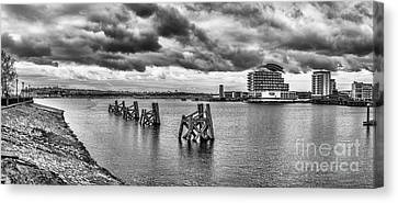 Cardiff Bay Panorama Mono Canvas Print by Steve Purnell