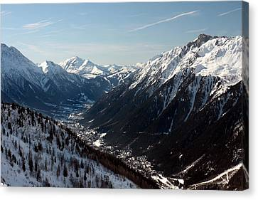 Chamonix Resort In The French Alps Canvas Print by Pierre Leclerc Photography