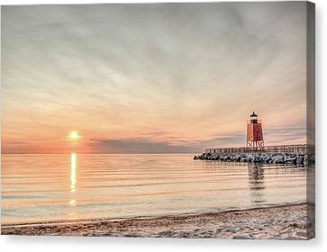 Charelvoix Lighthouse In Charlevoix, Michigan Canvas Print by Peter Ciro