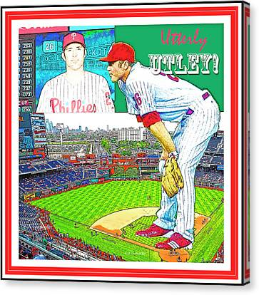 Citizens Bank Park Canvas Print - Chase Utley Poster Utterly Utley by A Gurmankin