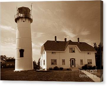 Chatham Lighthouse Ma Canvas Print by Skip Willits